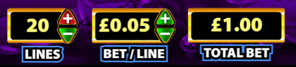 Choosing bet size on Rainbow Riches